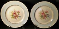 """Homer Laughlin Eggshell Chateau Blue Luncheon Plates 9"""" Rare Set of 2 Excellent"""