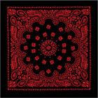"Black & Red Trainmen Paisley 100% Cotton Biker Bandana 27"" x 27"""