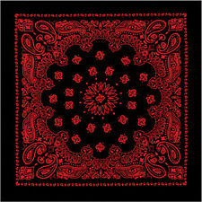 "Black & Red Trainmen Paisley 100% Cotton Biker Bandana 27"" x 27"""
