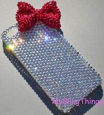 Crystal Rhinestone +Red Bling BOW Back Case for iPhone SE 5 5S made w/ Swarovski
