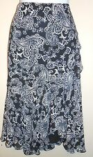 Chaps Ladies Paisley Chiffon Flounce Skirt Navy Multi 12 NWT
