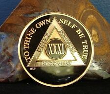 Black Alcoholics Anonymous  AA 31 Year Medallion Coin Token Chip Sober sobriety