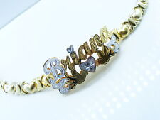 PERSONALIZED 14K  GF NAME BRACELET HUGS & KISSES XO BIR