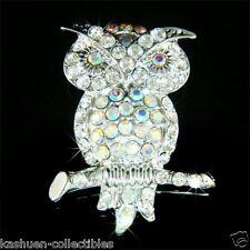~Night OWL~ made with Swarovski Crystal Rhinestone Hawk Teacher Pin Brooch Xmas