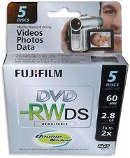 5-Pak FujiFilm 8cm Mini DVD-RW 2.8GB 60-Min fits Sony/Canon in Mini Jewel Case