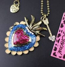 Betsey Johnson Necklace Blue Pink HEART WITH CRYSTALS  Gold Locket WORLD PEACE