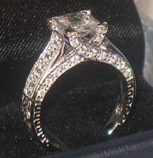 3 Ct Princess Solitaire Antique Diamond Engagement Ring Vintage White Gold ovr