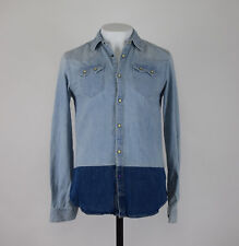 Scoth & Soda da Uomo Blu extra Slim-Fit con Bottoni Camicia di Jeans M