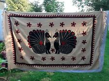 XL Throw Afghan Bird Bed Spread Blanket Peacock Floral Vintage Fringe Xtra large