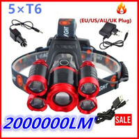 Zoomable 500000LM Head Lamp Camping 5 led Headlight Tube Torch LED Flashlight