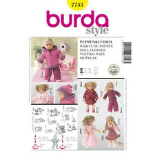 "Burda Sewing Pattern 7753 Doll Clothes Size 12-14"" 30-35cm and 16-18"" 40-45 CM."