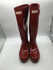 Hunter Women's Original Classic Tall Rain Boots - Rubber Boot SIZE 8 (Red)