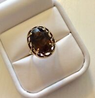 Lovely Ladies Full Hallmarked Vintage 9CT Gold Large Smoky Quartz Ring M 1/2