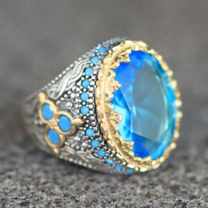 14K Yellow Gold Filled Rings Aquamarine Ring Fashion Jewerly Women Mens Sz 6-10