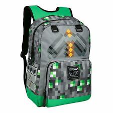 Minecraft Emerald Survivalist Pickaxe Backpack School Bag Laptop - UK Seller