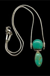 Sterling Silver Genuine Mint Green Turquoise Festoon Necklace