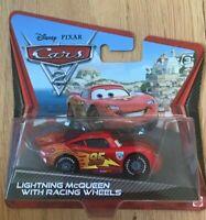 Disney Pixar Cars 2 Lightning McQueen with Racing Wheels Short Card - New In Box