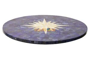 "24"" Marble Coffee Table Top Stand Not Included Abalone Lapis Inlay Art E586(1)"