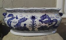 Bombay Blue And White Pottery or Porcelain Chinese Planter with Painted Dragons