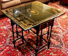 Beautiful Drexel Heritage Ebonized Chinoiserie Drop Leaf Bamboo Asian Side Table