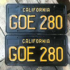 1963 California license plate pair GOE 280 YOM DMV clear sticker Chevy Impala