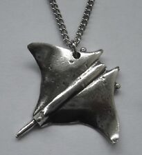 Ray (30mm x 30mm) Stingray Chain Necklace #1544 Pewter Sting