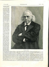 Portrait Theodor Mommsen 1817-1903 historien épigraphiste Allemagne GRAVURE 1903