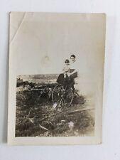 Vintage BW Real Photo #AY: Farm Plough : Lady Young Boy