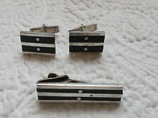 VTG  Modernist  Mexican TAXCO Sterling Silver Wood Tie Clip & Cufflinks SIGNED