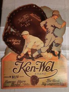 Vintage 1930's KEN-WEL Brand LOU GEHRIG Store Model Glove PROMO DISPLAY