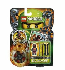 LEGO Ninjago NRG COLE Black Ninja Minifigure w/ Spinner 9572 Weapons Cards