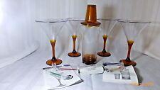 New Tupperware Sheerly Elegant Amber Stemware Martini Glasses Shaker Pics Set