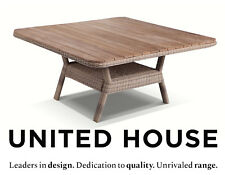 Outdoor Wicker 1.2m Square Teak Top Dining Table Rattan Cane Deck Furniture