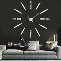 Modern Waterproof DIY Large Wall Clock Kit 3D Watch Mirror Surface Sticker Decor