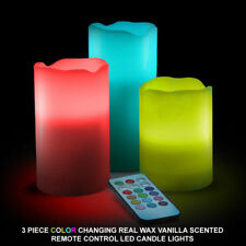 3PC Real Wax Flameless Flickering LED Mood Candle Set with Colour Changing Remot