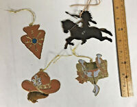 Vintage Large Rodeo Cowboy Western Metal Brass Christmas Ornament Lot Of 4