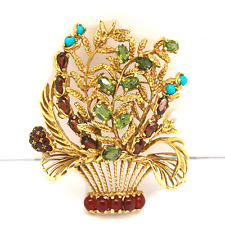 LUCIEN PICCARD Gold Emerald,Garnet,Turquoise and Pearl Brooch/Pendant