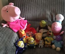 Small Bundle Lot Of 11 Tv Film Character Soft Toys Peppa Pig Minions Etc