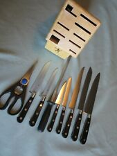 JA Henckels Intl Classic Knife Set Spain Storage Block, 7 Knives, Shears & Steel
