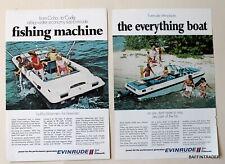 2 x Evinrude Boats Inboard  Magazine 1970 Print Ad  7 x 10