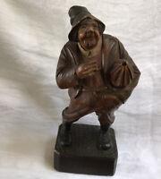Vintage Hand Carved Wooden Folk Art Statue of Old Man With Umbrella