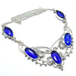"Blue Sapphire, Blue Sapphire Handmade Ethnic Style Jewelry Necklace 18"" JB"