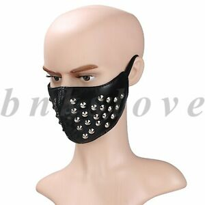 Punk Outdoor Leather Rivets Half Face Cover Anti-dust Motorcycle Biker Shield