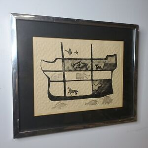 "Fernando Vilchis Etching Noah's Arc Signed Framed Numbered 23"" X 19"""