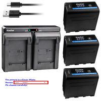 Kastar Battery Dual Charger for Sony NP-F970PRO MVC-CD1000 MVC-CD400 MVC-CHF81