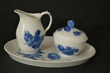 ROYAL COPENHAGEN BLUE FLOWERS WEAVE CREAMER,SUGAR BOWL WITH LID AND TRAY