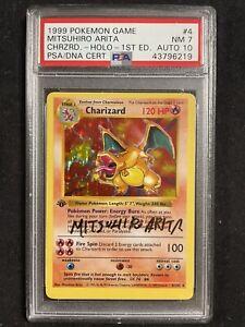 1999 Pokemon 1st Edition Shadowless Charizard Psa/dna Arita Signed Psa7 Auto 10