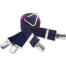 Hosenträger Herren blau Rand bordeaux 35 mm br Gr. 120  X-Form  4 Clips 7573-263