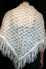 SMALL Vtg 60s 70s Wrap White Woven Fringed Triangle Shawl Boho Sweater Scarf