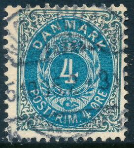 Denmark Scott 42b/AFA 23C, 4ø blue-gray/blue Bicolor, F Used, WMK Crown III